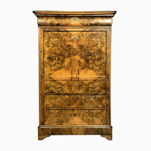 Antique Louis Philippe French Burl Walnut Secretaire