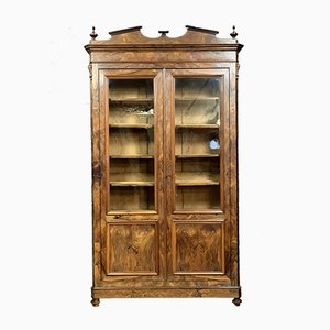 Antique Louis Philippe Burl Walnut Wall Unit