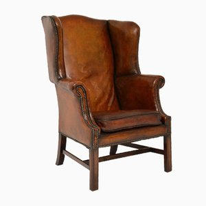 Antique Leather and Mahogany Wing Back Armchair