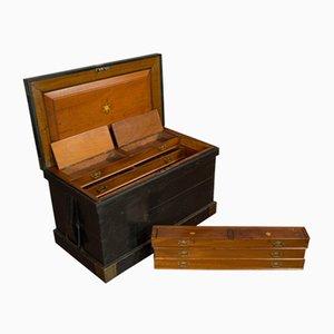 Baúl de caoba inglesa antiguo victoriano de la artesanía