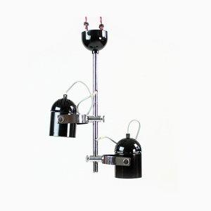 Lámpara de techo Combi Lux vintage de cromo y metal negro de Stanislav Indra para Lidokov, años 60