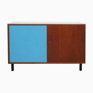 Credenza piccola in teak e formica blu, anni '60
