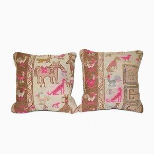 Animal Kilim Cushion Covers, Set of 2