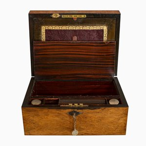 Antique Victorian English Rosewood and Leather Writing Slope Pen Box, 1880s