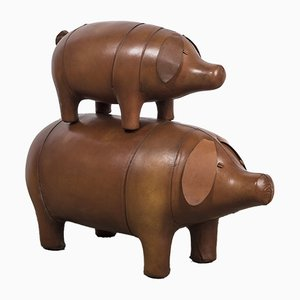 Small Leather Pig Stool from Omersa, 1980s