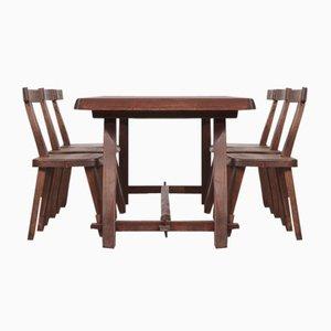 Mid-Century Finnish Dining Table & Chairs Set by Olavi Hänninen for Mikko Nupponen, 1960s, Set of 7