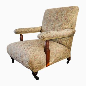 Antique Edwardian Open Armchair on Casters in the Style of Howard & Sons