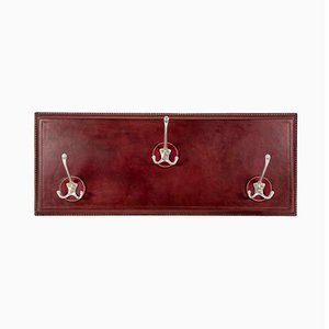 Stitched Leather Coat Rack by Jacques Adnet, 1950s