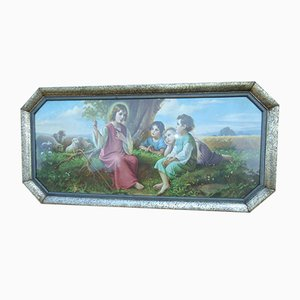 Art Nouveau Oil Painting of Jesus Teaching Children