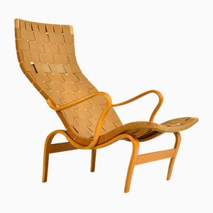 Mid-Century Swedish Beech Bentwood Pernilla Lounge Chair by Bruno Mathsson for Firma Karl Mathsson, 1940s