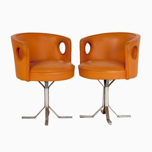 Mid-Century Orange Leather Armchairs by Jordi, Vilanova, 1970s, Set of 2