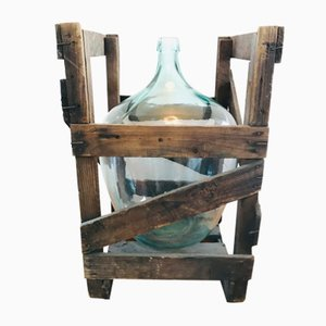 Vintage French Demijohn and Wooden Crate Set, 1950s