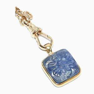 Antike viktorianische 9kt Gold Kette mit Charme