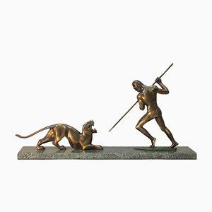 Escultura Art Déco de bronce y mármol, años 40