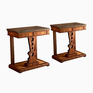 Antique Victorian Coromandel and Marble Side Tables, 1870s, Set of 2