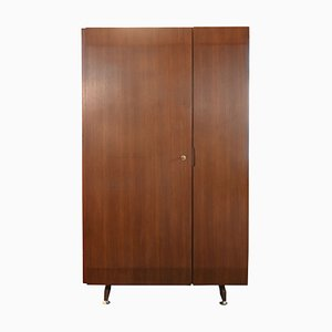 Italian Beech and Brass Wardrobe, 1950s
