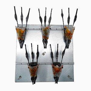 Große Brutalistische Italienische Wandleuchten aus Glas & Eisen von Poliarte, 1970er, 5er Set