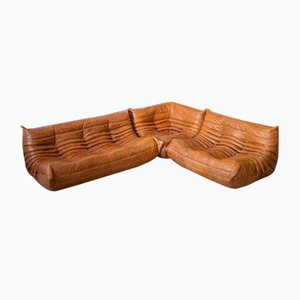 Pine and Leather Togo Living Room Set by Michel Ducaroy for Ligne Roset, 1970s, Set of 3