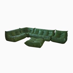 Green Togo Living Room Set by Michel Ducaroy for Ligne Roset, 1970s, Set of 5