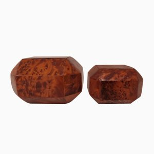 Root Wood Boxes, 1940s, Set of 2