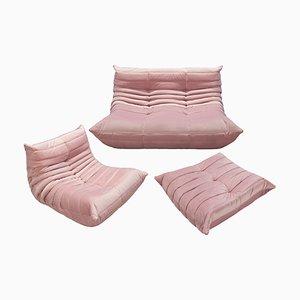 Vintage Pink Velvet Togo Living Room Set by Michel Ducaroy for Ligne Roset, 1980s, Set of 3