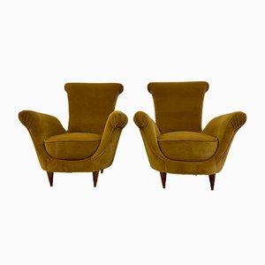 Mid-Century Italian Mustard Velvet Armchairs, 1950s, Set of 2