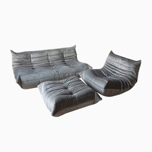 Vintage Gray Velvet Togo Living Room Set by Michel Ducaroy for Ligne Roset, 1970s