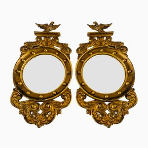Antique Regency Giltwood Convex Mirrors, Set of 2