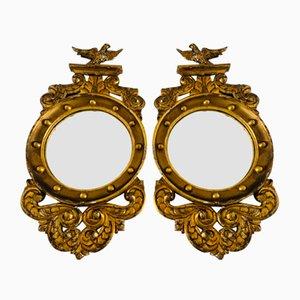Miroirs Convexe Regency Antique en Bois Doré, Set de 2