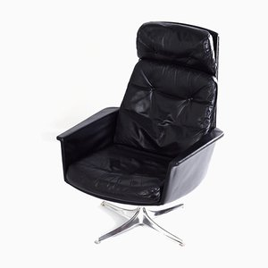 Black Leather Sedia Swivel Chair by Horst Brüning for Cor, 1960s