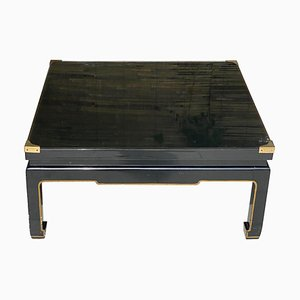 Coffee Table in Black Lacquered Wood in the Style of Romeo Paris, France, 1970s