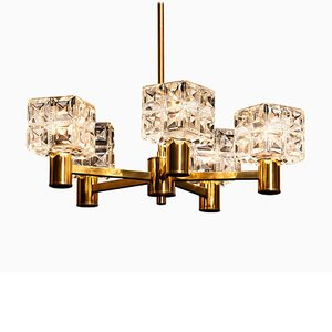 Brass and Crystal Chandelier from Konsthantverk Tyringe, Sweden, 1950s