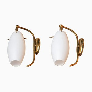 Brass Wall Lights with Opaline Shades Vases from Stilnovo, Italy, 1950s, Set of 2