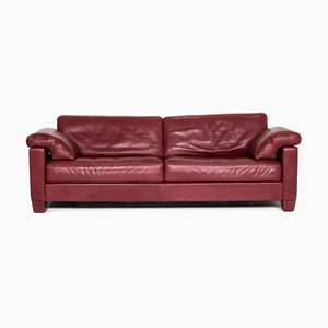 Wine Red Leather DS 17 3-Seat Sofa from de Sede