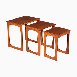 Small English Teak Veneer & Solid Wood Nesting Tables, 1960s