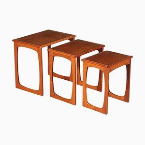 Small English Teak Veneer & Solid Wood Nesting Tables, 1960s