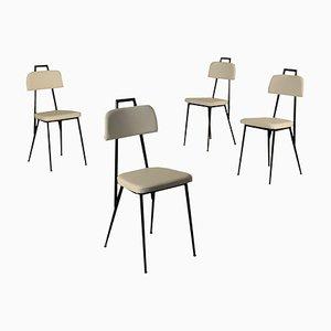 Vintage Italian Foam, Leatherette, Brass, Metallic & Enameled Chairs, Set of 4