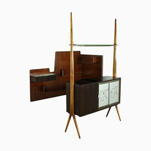 Italian Mahogany Veneer, Back-Treated Glass & Walnut Bar Cabinet, 1950s