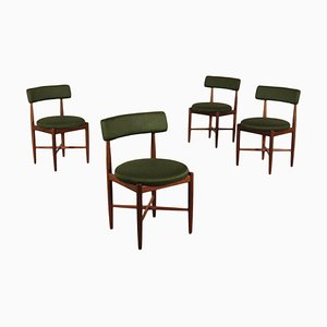 English Teak, Foam & Fabric Chairs, 1960s, Set of 4