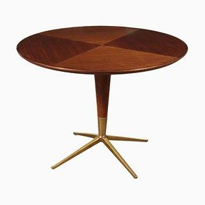 Vintage English Poplar, Mahogany Veneer, Glass & Brass Table