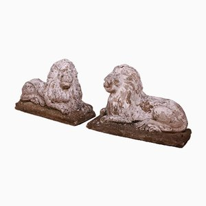 Recumbent Stone Lions, 1960s, Set of 2