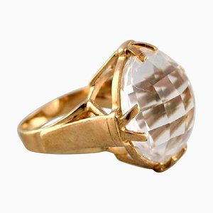 Vintage Art Deco Ring in 9 Carat Gold Adorned with Large Clear Stone, 1940s