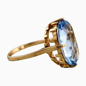 Vintage Art Deco Ring in 8 Carat Gold Adorned with Large Light Blue Stone, 1940s
