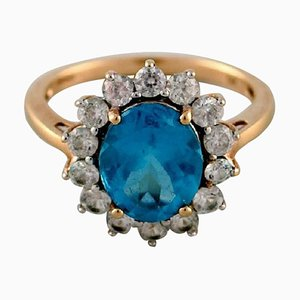Vintage Art Deco Ring in 9 Carat Gold Adorned with Several Semi-Precious Stones, 1940s