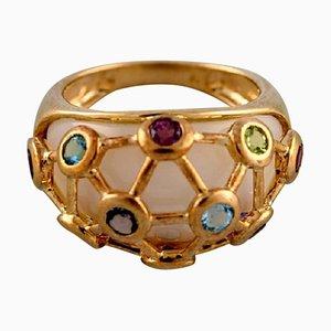 Anillo Art Déco vintage de oro de 9 quilates adornado con varias piedras semi preciosas, años 40