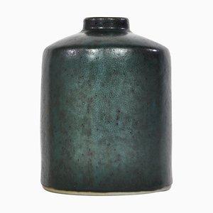 Dunkelgrüne Schwedische Keramikvase von Carl-Harry Stålhane für Rörstrand, 1960er