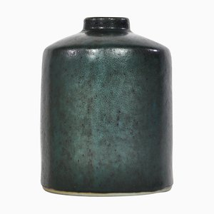 Swedish Dark Green Ceramic Vase by Carl-Harry Stålhane for Rörstrand, 1960s
