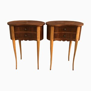 Kidney-Shaped Mahogany Nightstands with Drawers, 1960s, Set of 2