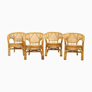 Rattan Garden Armchairs, 1980s, Set of 4