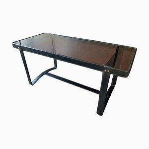 French Leather and Smoked Glass Coffee Table by Jacques Adnet, 1950s